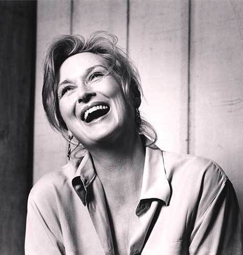 Meryl Streep, laughing.