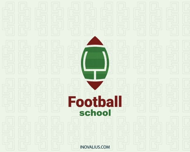 Football School is a  logo in the shape of a ball with a field in the center with a goal post with the colors red and green.(sports, football, ball, sport, school, players, app, post, goal, power, games, academy, live football, football games, league, logo for sale, logo design, logo, logotipo).
