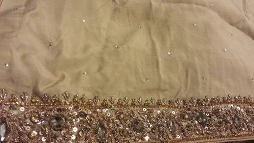 Beige work at neck and border Satin Silk in fancy left box