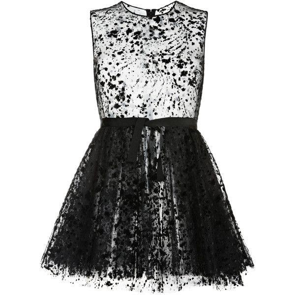 Giambattista Valli Polka Dot Tulle Mini Dress ($3,630) ❤ liked on Polyvore featuring dresses, short dress, tulle cocktail dress, sheer mini dress, full tulle skirt, sheer dress and full skirt