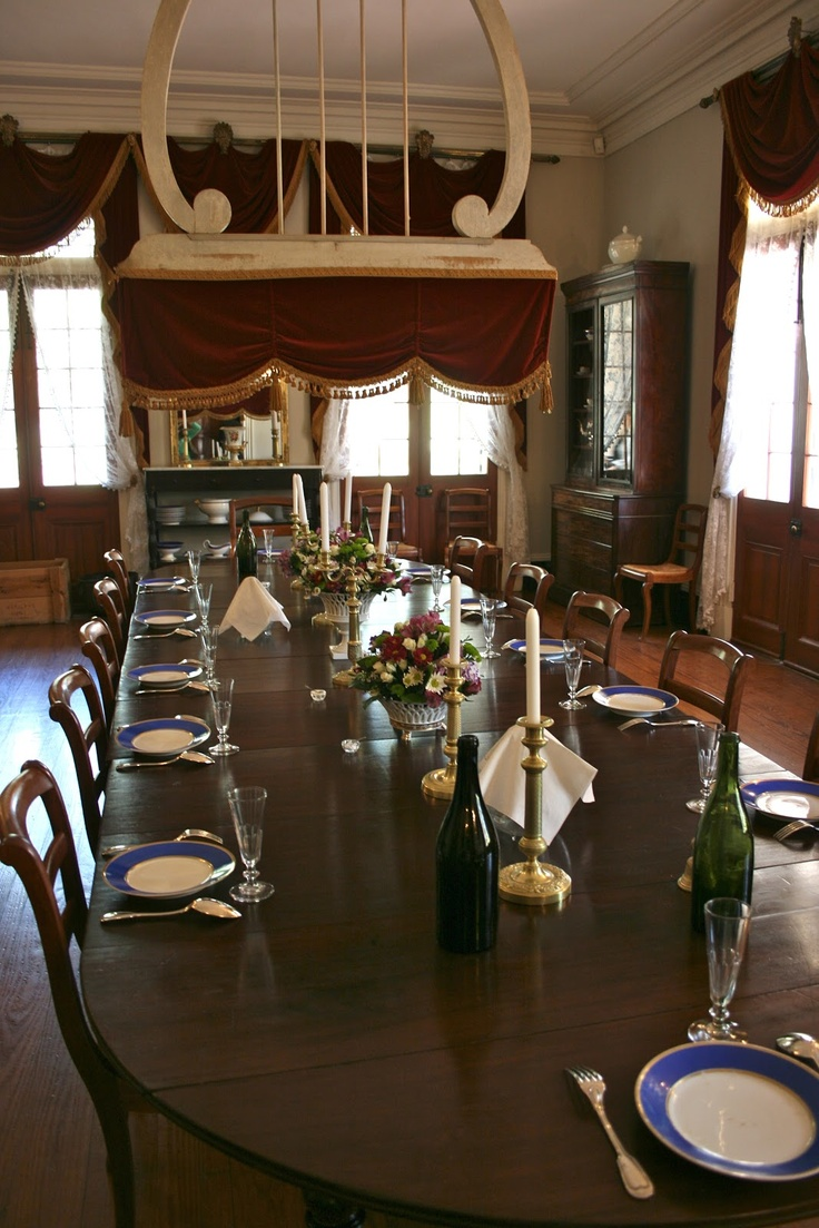 dining room with fan vignette design oak alley plantation