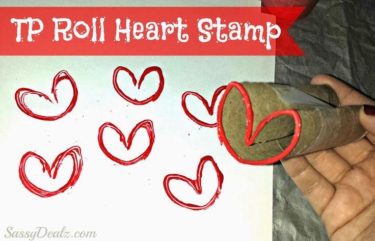 DIY Heart Stamp Using Toilet Paper Rolls (Kids Valentines Craft)