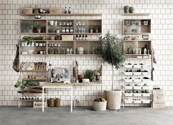 Kruiden en bokalen uit de keuken kan je mooi tentoonstellen in de String wandkast.