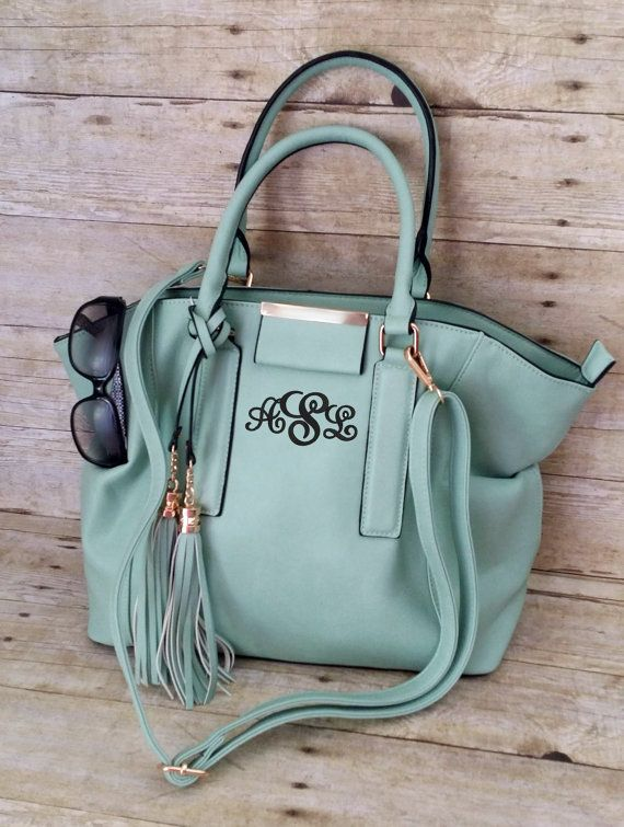 Monogrammed Purse Mint Satchel Purse Medium by MaBrownMercantile
