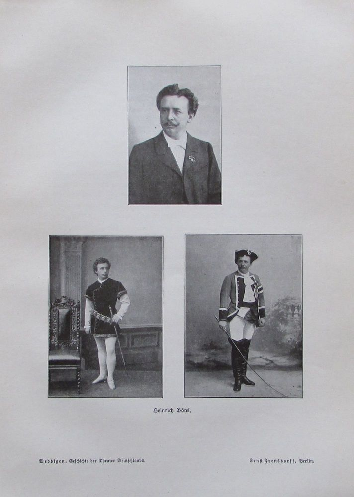 Heinrich Bötel, Theater Opernsänger - alter Druck aus 1906