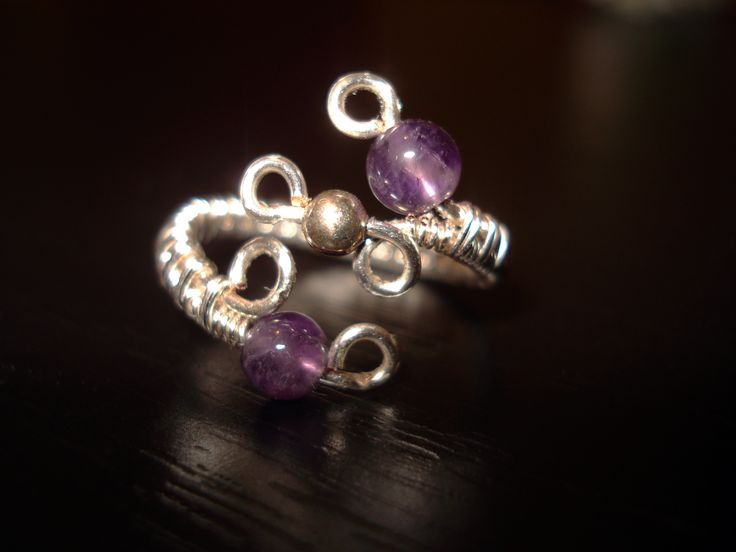 Wire Ring with 4mm Amethist Bead by IALINA