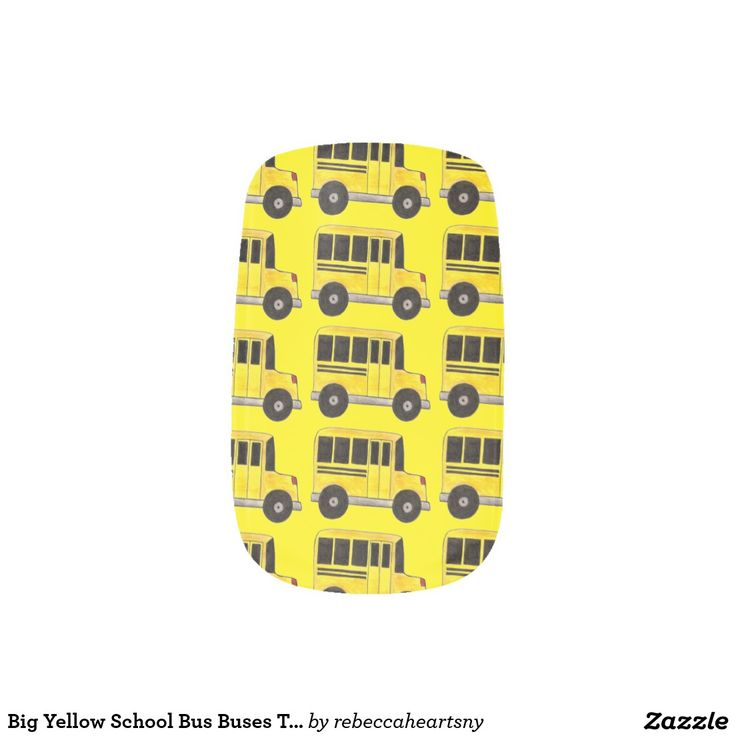 Big Yellow School Bus Buses Teacher Nail Art