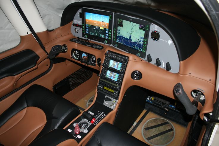 Leather interior of a Cirrus SR-22. Like the interior of a luxury car.