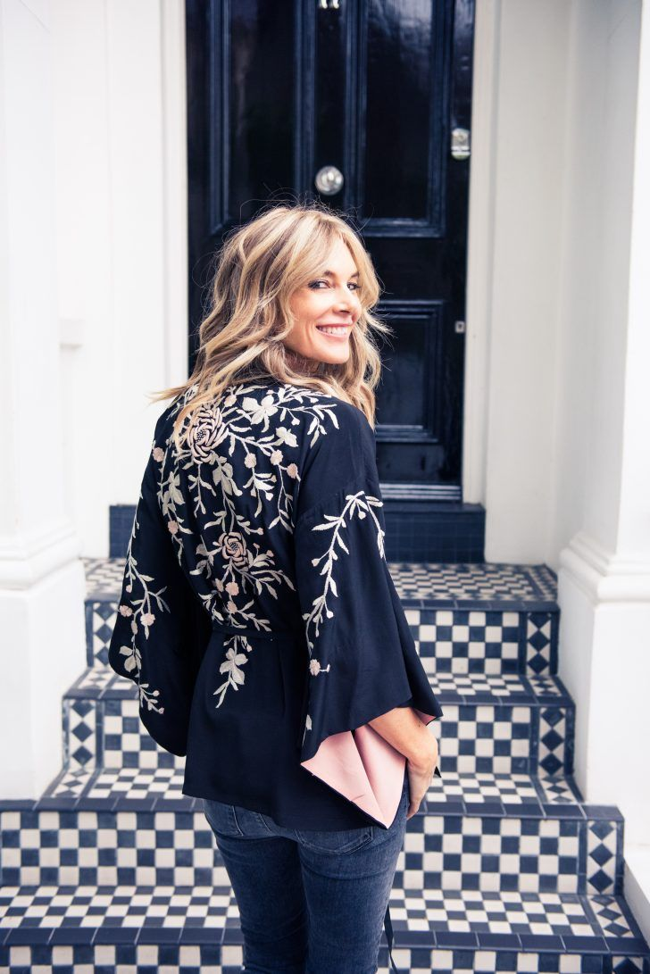 Inside Talitha's Co-Founder and Fashion Editor's Closet: Kim Hersov in Black Top with Floral Embroidery | coveteur.com
