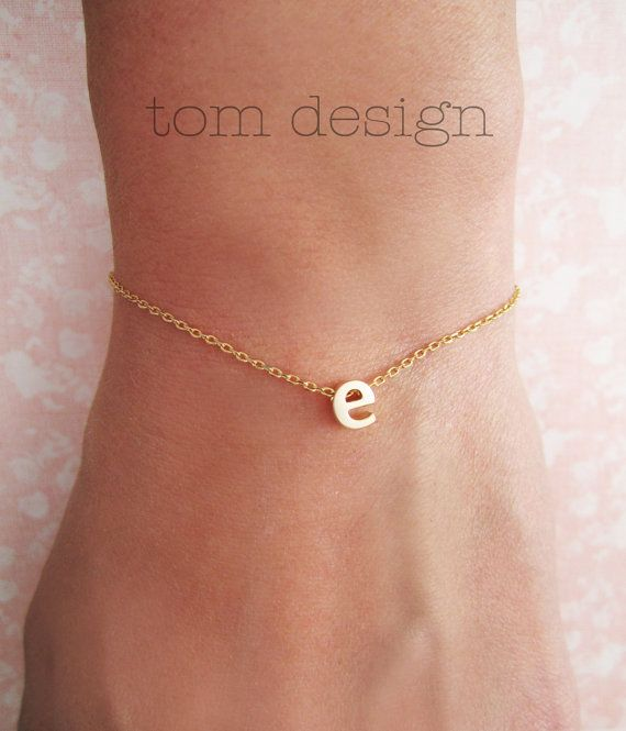 Tiny Gold Lowercase Initial Bracelet  Gold Letter by TomDesign, $15.00