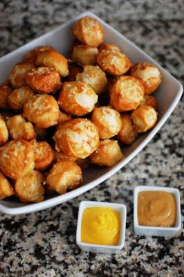 Savory Pretzel Bites. Serve warm with dipping sauces, such as mustard or cheese