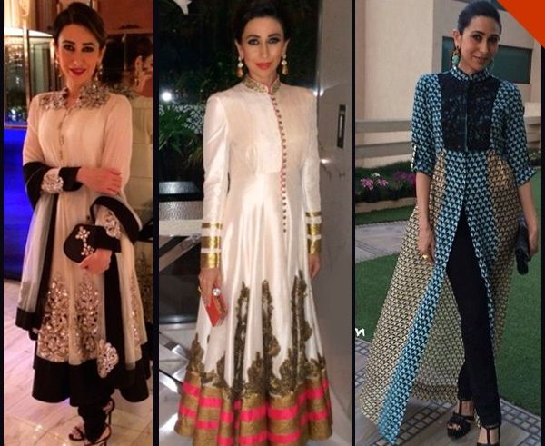 Karishma Kapoor spotted at 3 different events wearing similar high-neck ethnic wear. Which of these looks gets your approval?