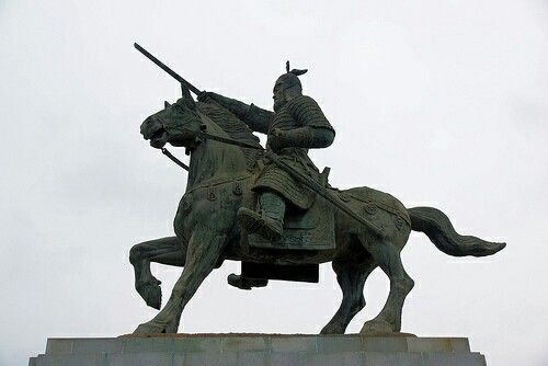 Kim Yushin (595 – 18 August 673) was a general in 7th-century Silla. He led the unification of the Korean Peninsula by Silla under the reign of King Muyeol of Silla and King Munmu of Silla. He is said to have been the great-grandchild of King Guhae of Geumgwan Gaya, the last ruler of the Geumgwan Gaya state. This would have given him a very high position in the Silla bone rank system, which governed the political and military status that a person could attain.