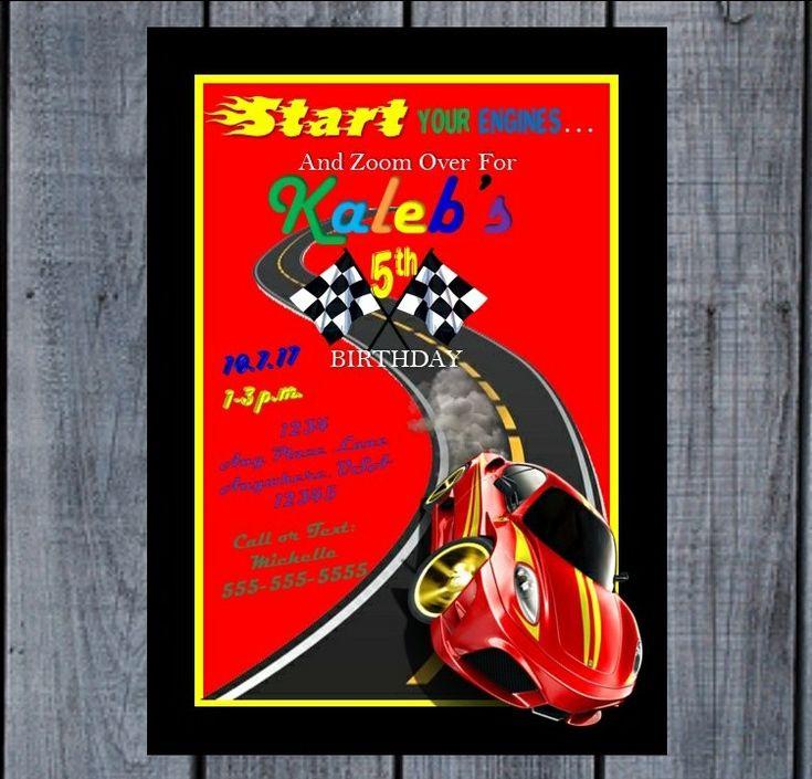 Race Car Printable Invitation; Race Car Invitation; Race Car Theme Birthday; Race Car Theme Party