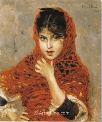 """""""Girl with Red Shawl"""", c. 1892, by Giovanni Boldini (Italian, 1842-1931)."""