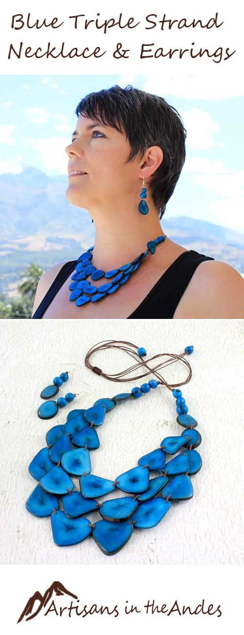 Enjoy the energy with this vibrant cobalt blue necklace set that will enhance your outfit with its one of a kind look. Included are matching dangling earrings