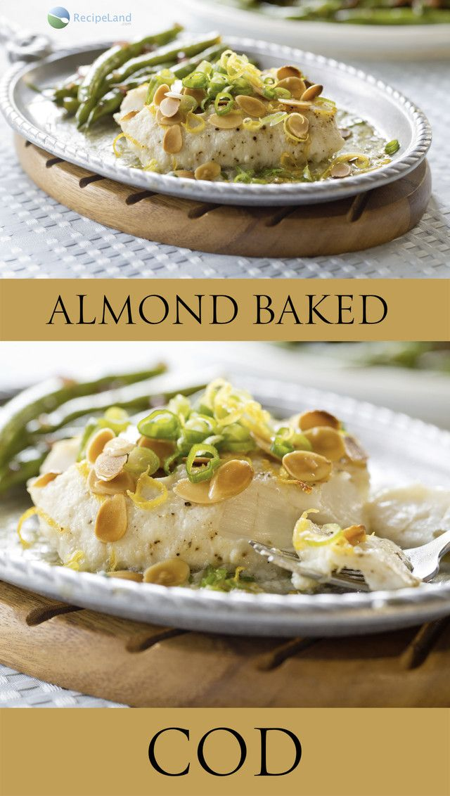 An easy butter baked cod topped with crunchy almonds. No fuss, easy clean-up and tastes great.  A nearly perfect fish main dish.  Norwegian or Atlantic cod works well as does any other firm fleshed white fish.