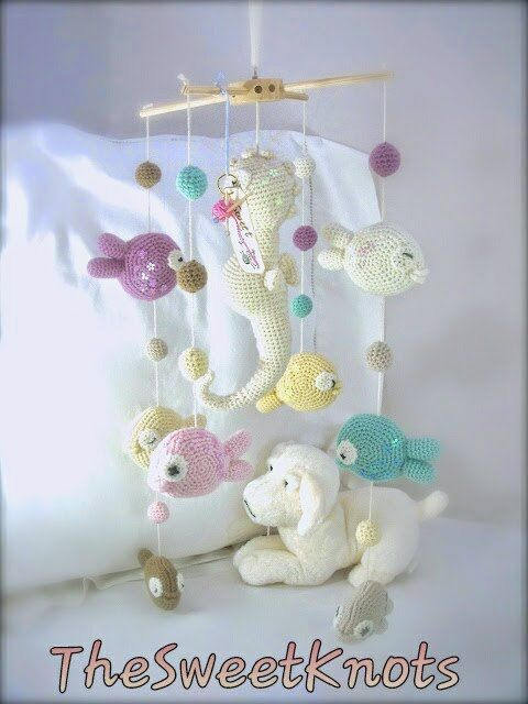 Mobile crochet baby with paillettes seahorse and by TheSweetKnots, $130.00