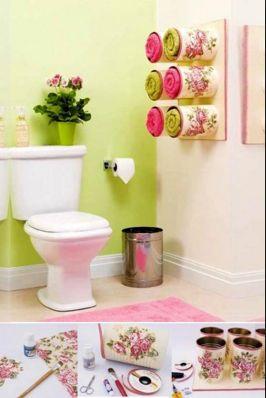 evde yapılabilecek aktiviteler,evde el işi yapmak, evde hobi fikirleri, teneke kutulardan banyo dekorasyonu, pratik ve kolay el işleri fikirleri
