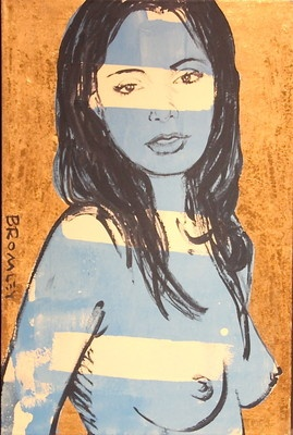"""DAVID BROMLEY Nude """"Mallory"""" Polymer & Gold Leaf on Canvas 90cm x 60cm"""