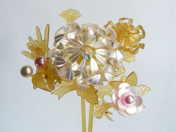 Vintage kanzashi - hair stick - large size bridal hair ornament - wedding - pearly plastic with beads - WhatsForPudding #1998