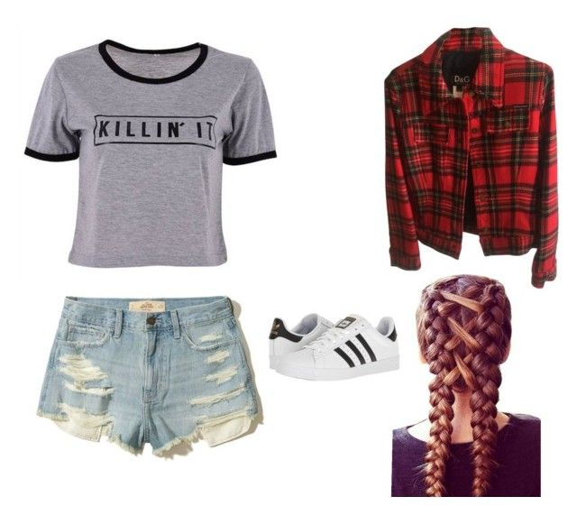 """""""Casual Teenage Outfit"""" by mymuffinman98 on Polyvore featuring Hollister Co., Dolce&Gabbana and adidas"""
