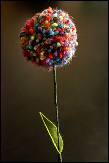 Pom pom flowers from yarn :) cute