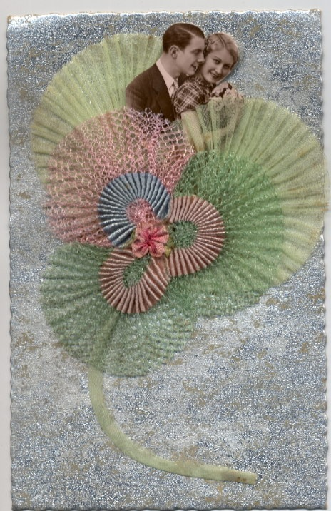 Silk embroidered postcard