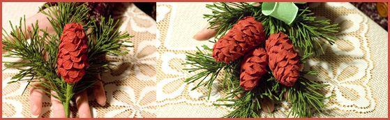 Jak zrobić świąteczne stroiki z bibuły - kurs : Kwiaty z papieru | Kwiaty z bibuły | Rękodzieło | Bibułkarstwo