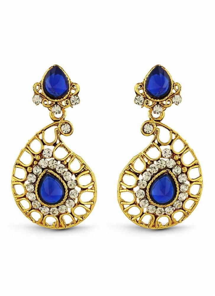 Women Designer Collection Artificial Jewelry Earrings In Blue & Amp Gold Elegant #KriyaCreation