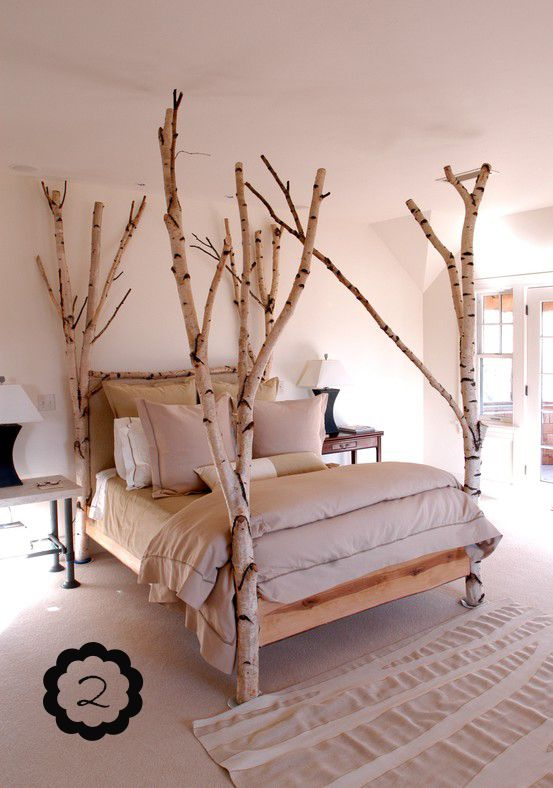 Build a really cool bed using a fallen tree http://livingvintageco.com/2013/08/50-ways-to-upcycle-tree-branches-and-logs/