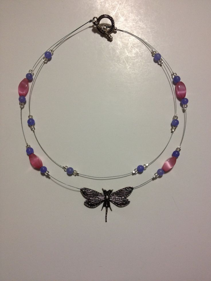 By request: double tier wire dragonfly necklace with suspended pink glass and lavender beads