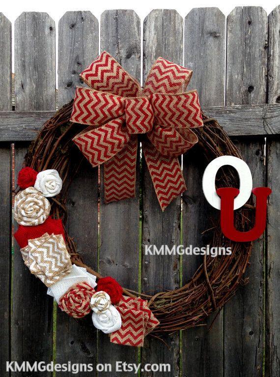 OU Chevron Burlap College Football Team Wreath by KMMGdesigns, $45.00