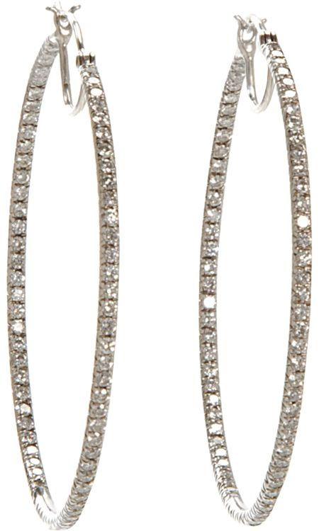 Cathy Waterman Pave Diamond Hoop Earrings
