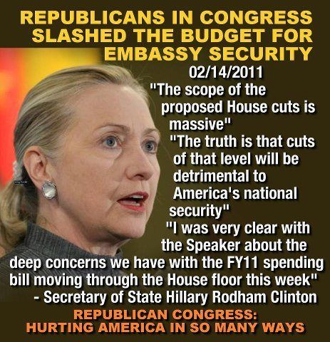 Yet Republicans railroaded the white house and Hillary Clinton as the ones solely responsible for Benghazi.
