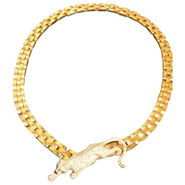 Shop CARTIER Panthère yellow gold necklace #goldnecklace  #necklace