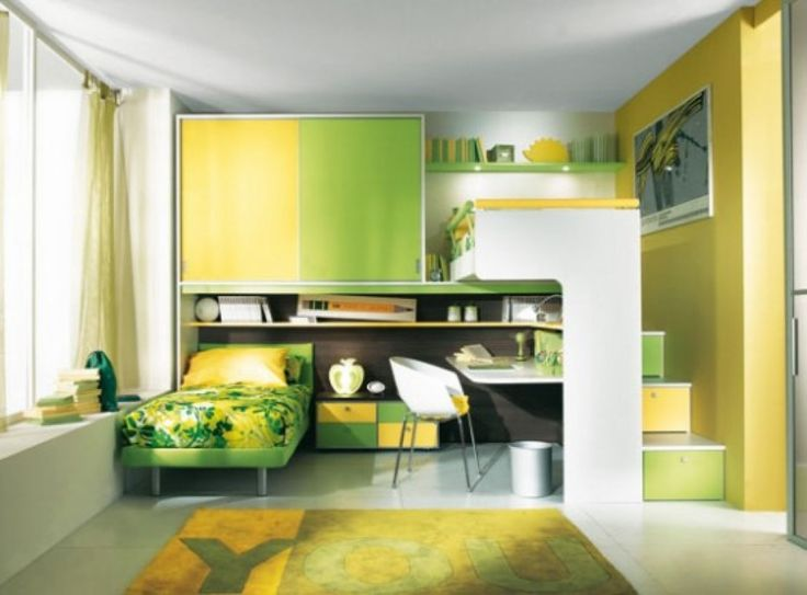 Kids Room Design Picture Cool Kids Room Ideas And Modern Bedroom Designs Girls With Green Yellow Bunk Beds And Simple Green Patterned Beds With White Study Desk And White Chair And Awesome Yellow Carpet In White Floor Also Floating Green Shelves And Glass Window With Beige Curtain of Fabulous Cool Bedroom Decor Ideas Design  from Bedroom Ideas