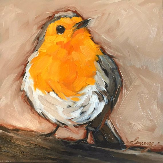 Red breasted Robin bird painting 5x5 impressionistic by LaveryART