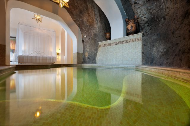 The famous Rock Suite with a private pool for magic honeymoons in Sorrento, Italy.