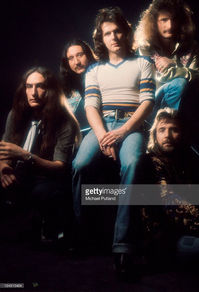 Uriah Heep, group portrait, London, 1975, L-R Ken Hensley, Mick Box, John Wetton, David Byron, Lee Kerslake (Front).