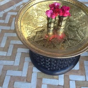 ( Etched Moroccan Tray Table With Roses On The Zig Zag Tile