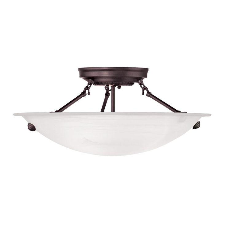 Livex Lighting Oasis 16-in W Bronze Alabaster Glass Semi-Flush Mount Light
