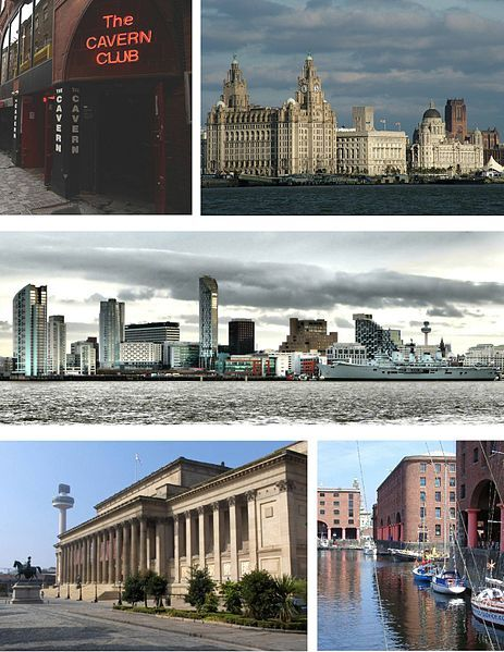Liverpool Montage from the upper left: the Cavern Club, the Three Graces of the Pier Head (the Liver Building, Cunard Building and Port of Liverpool Building), the skyline of Liverpool's commercial district, the Albert Dock and St George's Hall