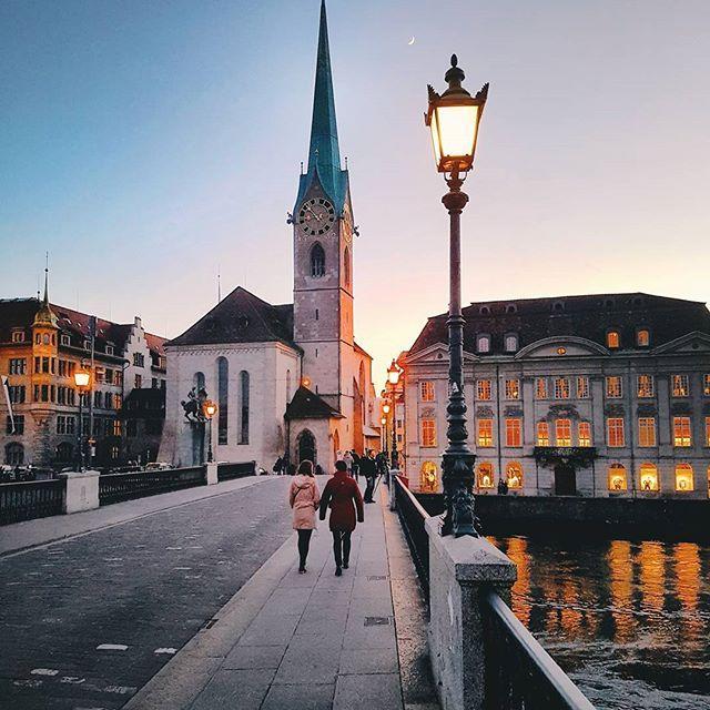 Crossing the bridge, Zurich, Switzerland.