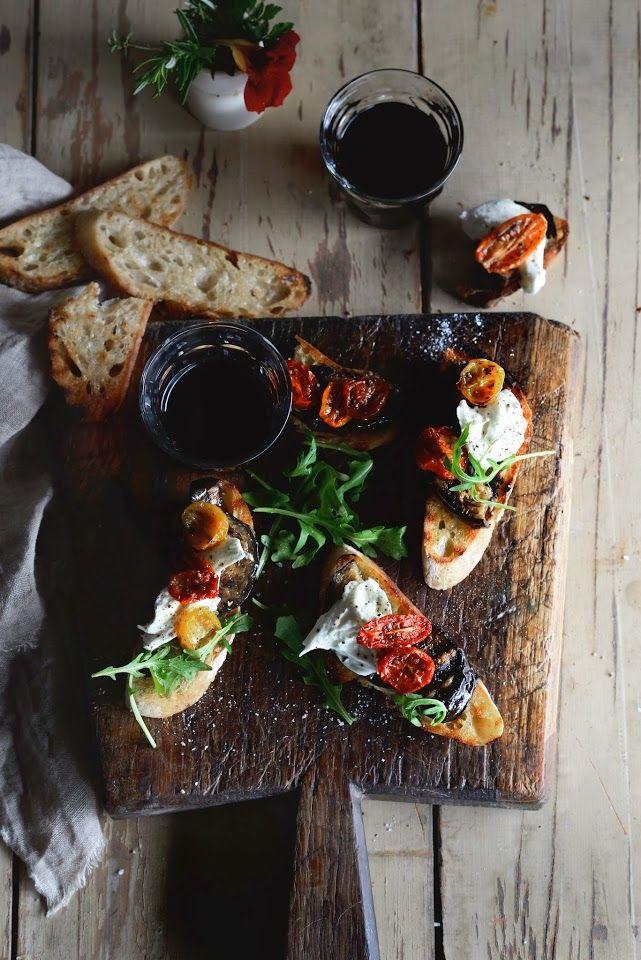 Bruschetta with Grilled Eggplant, Slow-Roasted Tomatoes, Burrata, Rocket