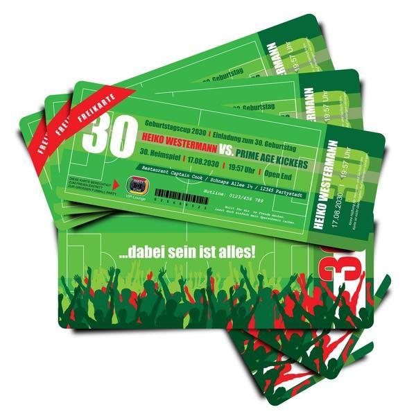 Einladungskarten - Einladung Fußball Ticket - Kartennummer 0505-2 - ein Designerstück von partyeinladungen_com bei DaWanda