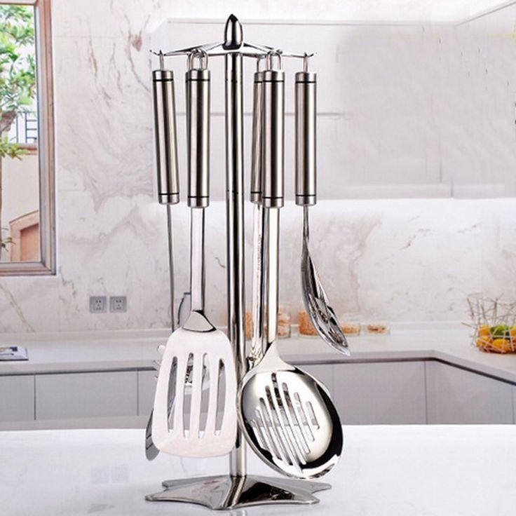304 stainless steel kitchen shelving storage rack kitchen spatula rotating multi-purpose storage rack spoon rack 7pcs/set