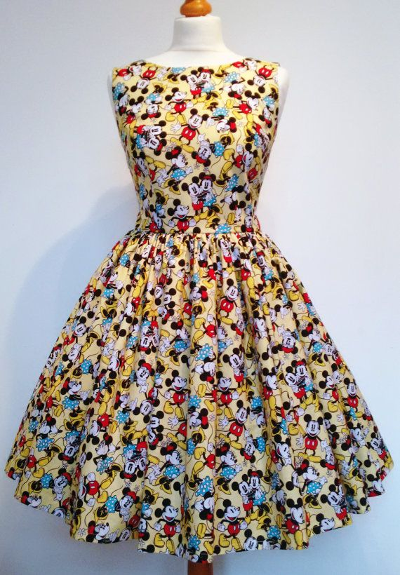 Show off your colorful Disney side with this Mickey and Minnie Mouse dress