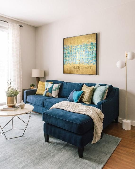 Abstract Gold Art Painting On Canvas Contemporary Art Large Abstract Art Original Artwork Modern Art Olsheart Textured Painting Wall Decor Blue Sofas Living Room Blue Couch Living Room Blue Sofa Living
