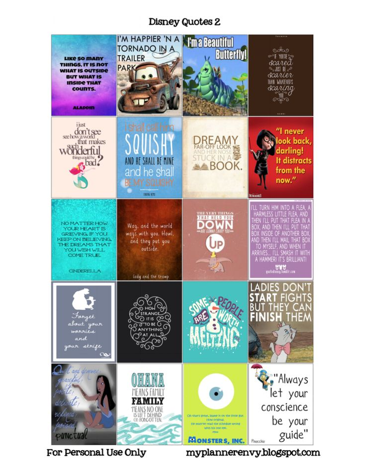 My Planner Envy: Disney Quotes 2 for the ECLP - Free Planner Printable Stickers for Silhouette and PDF.